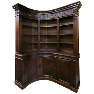 Early 19th Century Antique French Walnut Corner Library For Sale