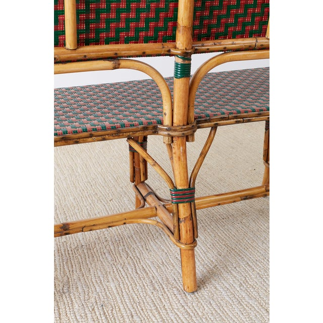 French Maison Gatti Rattan Bamboo Banquette Settee For Sale - Image 11 of 13