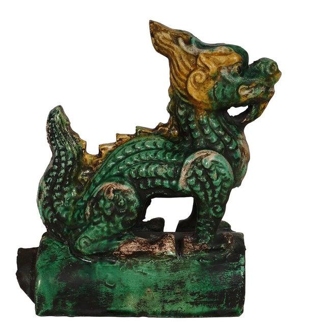 Vintage Chinese Glazed Ceramic Dragon Roof Tile For Sale - Image 4 of 8