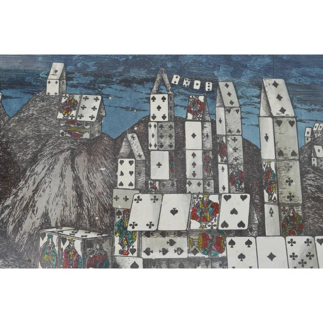 1950s Chic City of Cards Tole Tray by Piero Fornasetti For Sale - Image 5 of 5