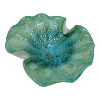 20th Century Italian Ruffled Blue Green Murano Glass Bowl