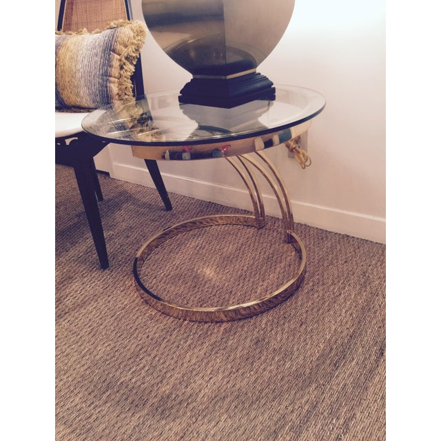 Milo Baughman-Style Brass & Glass Side Table For Sale - Image 5 of 5
