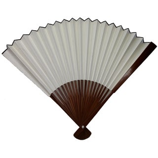 Vintage Large Chinese Bamboo Fan For Sale