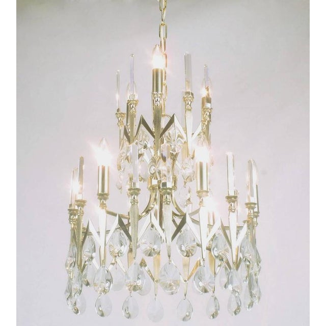 Rare Italian Import Gaetano Sciolari Silver and Crystal Nine-Light Chandelier - Image 3 of 7