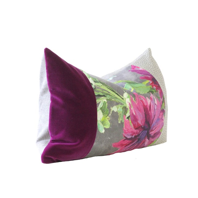Purple and Gray Designer Down Pillow - Image 2 of 2
