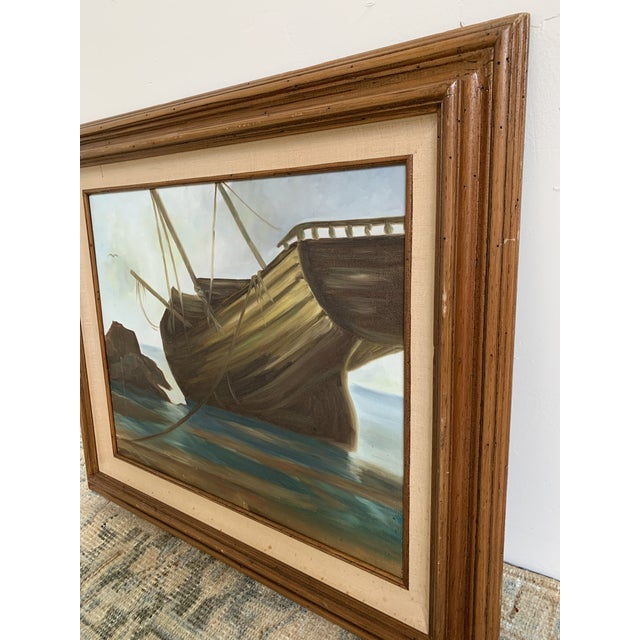 Vintage Mid-Century Shipwreck Framed Oil Painting For Sale - Image 4 of 5