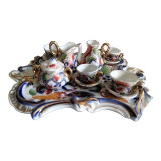 Miniature English Tea Set With Tray For Sale