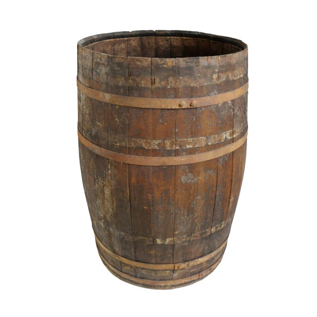 Early 20th Century Vintage Wood & Iron Barrel For Sale - Image 5 of 5