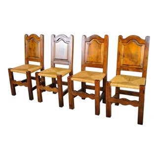Vintage Set of 4 French Country Style Maple Dining Chairs W/ Rush Seats For Sale