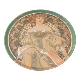 1970s Renaissance Woman Scene Italian Circular Tray For Sale