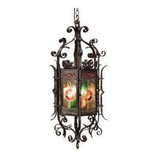 19th Century French Napoleon III Iron Hexagonal Lantern With Stain Glass Panels For Sale