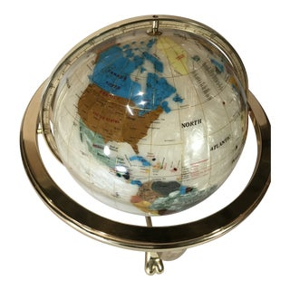 Vintage Stone and Mother of Pearl Inlay Inlaid World Globe on Golden Stand With Compass For Sale