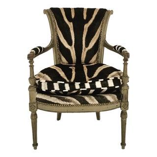 French Boudoir Armchair in Zebra Hide For Sale