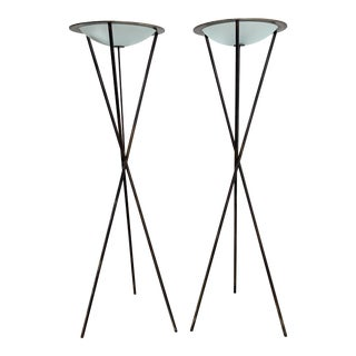 Late 20th Century Tripod Floor Lamps - a Pair For Sale