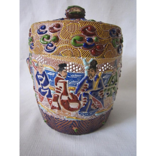 Japanese Satsuma Moriage Jar For Sale - Image 4 of 6