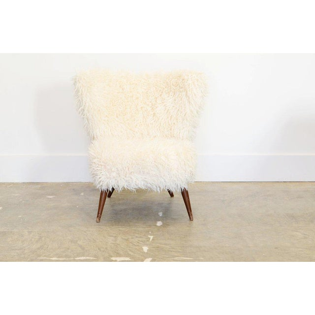 1950s 1950s Fluffy White Faux Fur Lounge Chair For Sale - Image 5 of 5