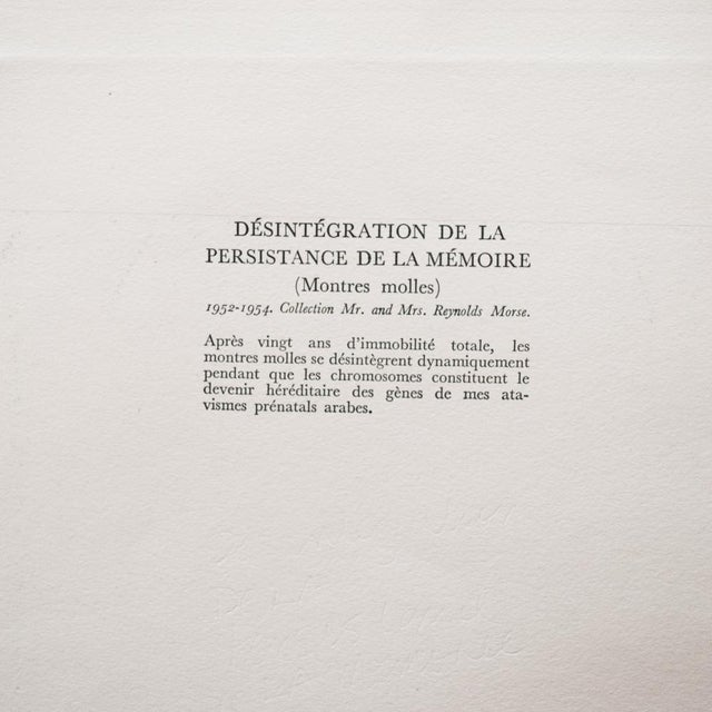"1957 Salvador Dali ""The Disintegration of the Persistence of Memory"", Original Period Photogravure For Sale In Dallas - Image 6 of 10"