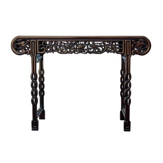 Asian Carved Huali Wood Double Dragon Chasing Fire Ball Altar Table For Sale