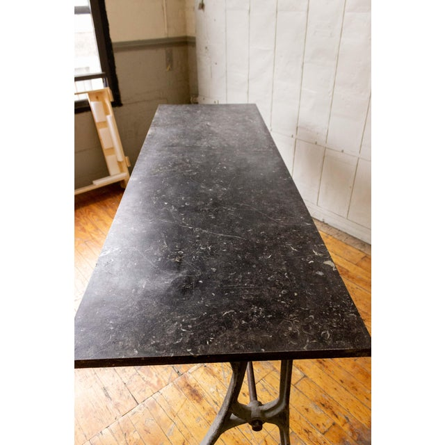 Early 20th Century 20th Century Industrial Iron Console With Marble Top For Sale - Image 5 of 11