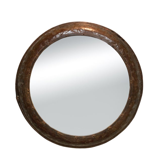 Industrial Architectural Element Round Metal Mirror, English, Circa 1900 For Sale