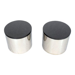 Polished Stainless Steel Black Granite Tops Drum End Occasional Tables - A Pair For Sale