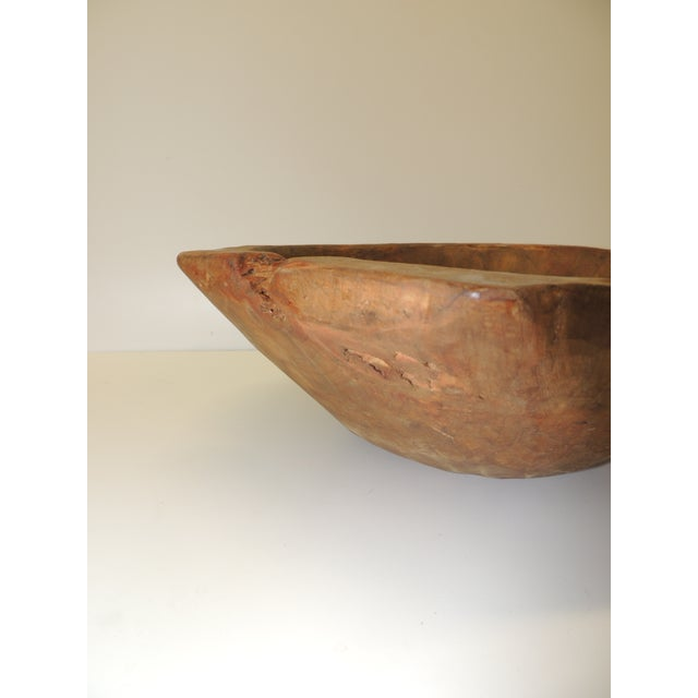 "Tree root round hand carved rustic bowl. Size: 14"" x 15"" x 5"" H."