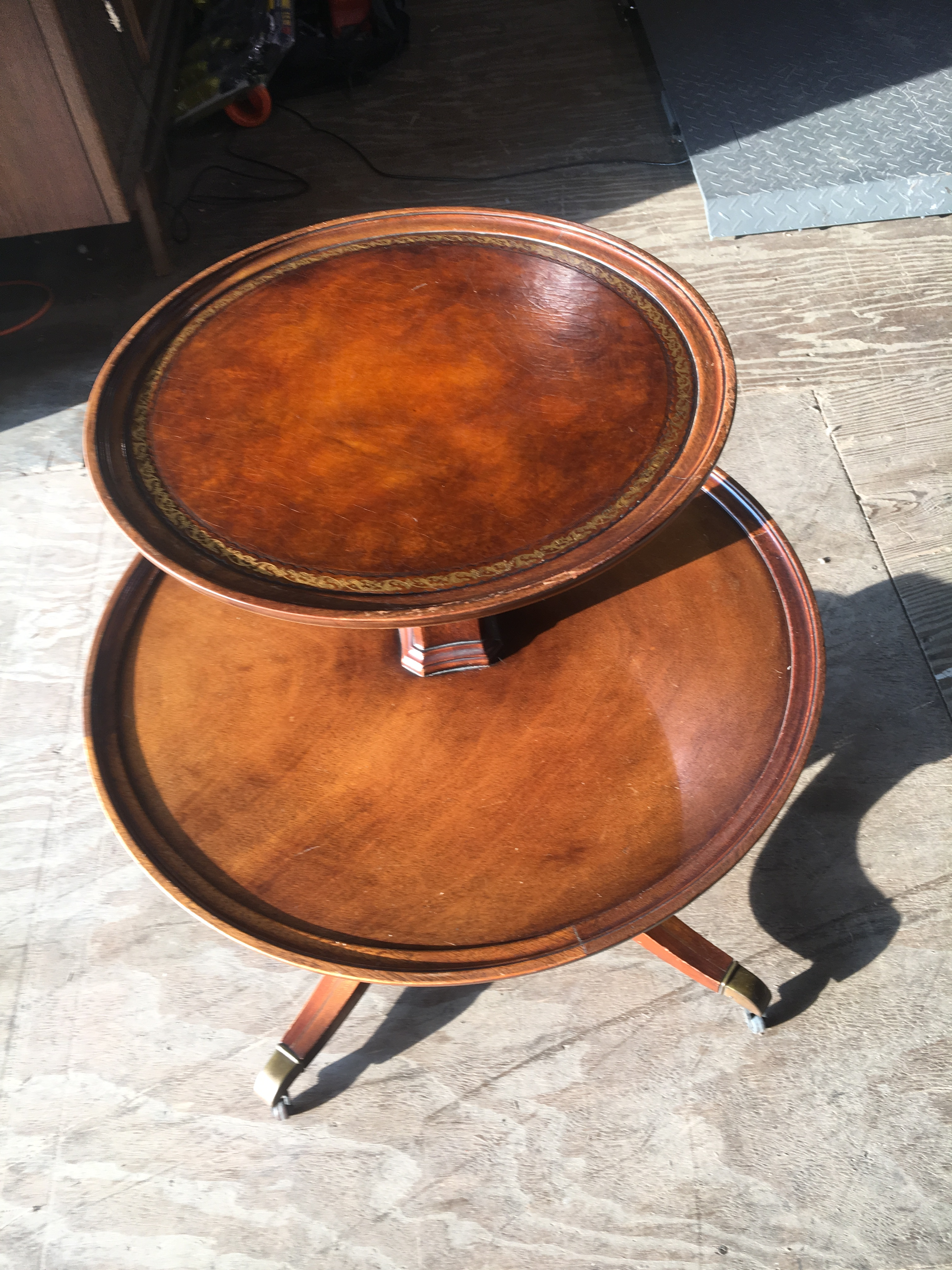 Weiman Leather Top Mahogany Two Tier Side Table   Image 2 Of 8