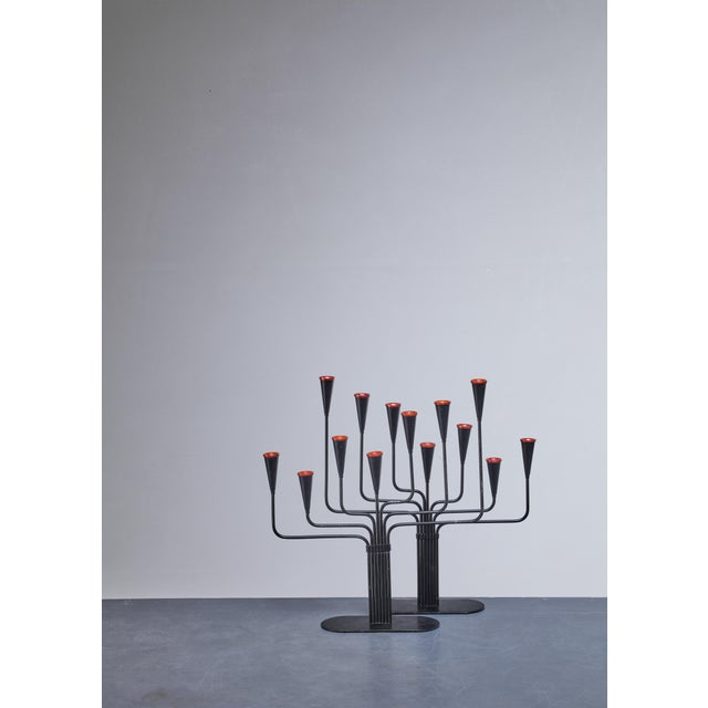 Mid-Century Modern Pair of Gunnar Ander Candelabras for Ystad, Sweden, 1960s For Sale - Image 3 of 4