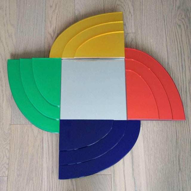 2007 Sottsass Postmodernism Mirror in Green Blue Yellow Pink for Glas Italia For Sale - Image 10 of 12
