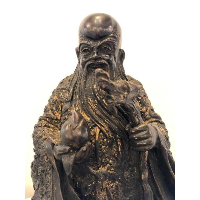 Metal 18th-19th Century Figure One of the Three Gods of Good Fortune For Sale - Image 7 of 13
