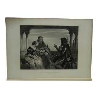 """Vintage 1890s """"Othello Relating His Adventures"""" Work of Shakespeare Engraving by C.W. Cope For Sale"""