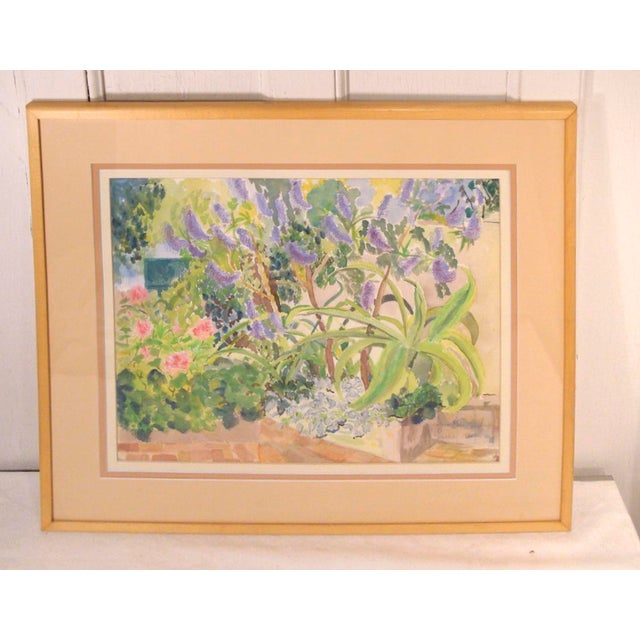 1980s Tropical Floral Watercolor Painting For Sale In Richmond - Image 6 of 6
