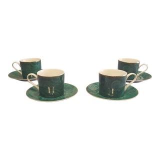 Neiman Marcus Malachite Teacups & Saucers - Set of 4