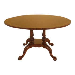 Maitland Smith Inlaid Top Round Walnut Clawfoot Dining Table