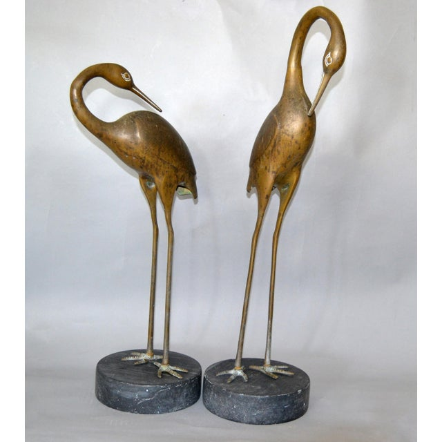 Hollywood Regency Asian Style Bronze Crane Sculptures Black Marble Base, a Pair For Sale - Image 13 of 13