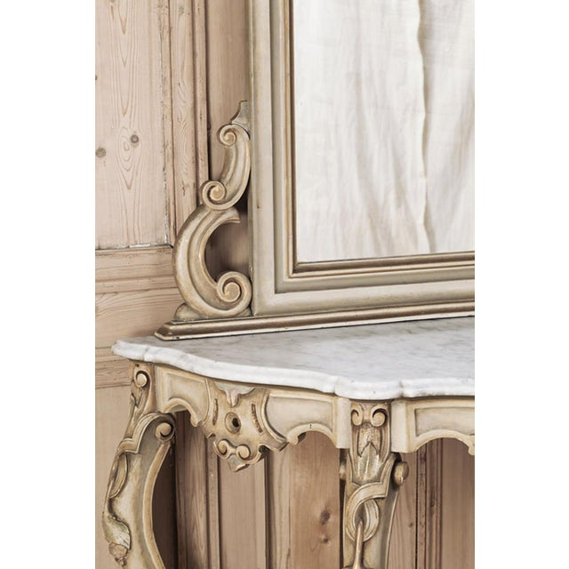 19th Century Italian Hand Painted Console and Mirror With Cararra Marble For Sale In Dallas - Image 6 of 13
