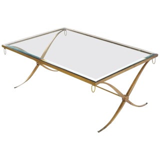 Barbara Barry for Baker Furniture Gilt Wrought Iron X Base Regency Coffee Table For Sale