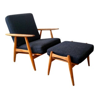 Hans Wegner Model Ge240 Cigar Chair & Ottoman For Sale