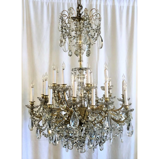 Louis XVI Antique French 24 Light Old Baccarat Crystal and Ormolu Chandelier, Circa 1890's For Sale - Image 3 of 3