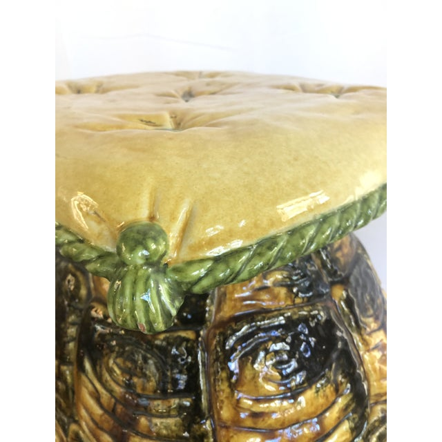 Vintage Italian Turtle Garden Stool Glazed Painted Terra Cotta For Sale - Image 4 of 12