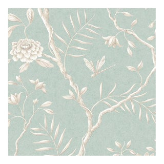 Lewis & Wood Jasper Peony Green Glaze Botanic Style Wallpaper Sample For Sale