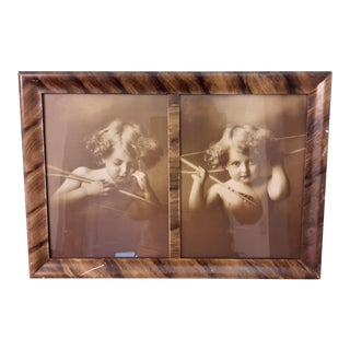 """Cupid Awake and Cupid Asleep"" Antique Original Print in Frame For Sale"