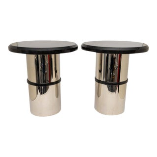 Stainless Steel and Black Granite Side Tables - a Pair For Sale