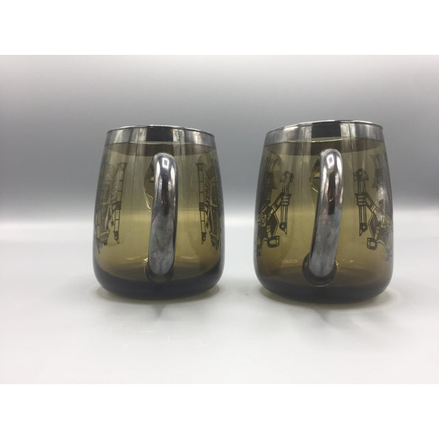 Gray 1960s Mid Century Smoke Glass Mugs-a Pair For Sale - Image 8 of 10