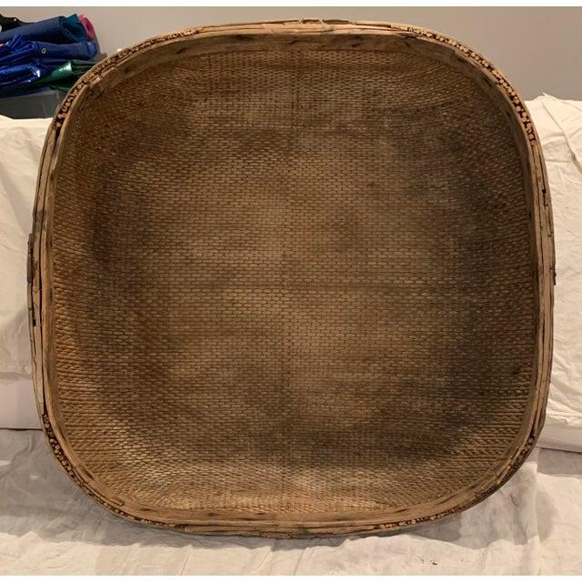 Wood Vintage Asian Market Basket For Sale - Image 7 of 9