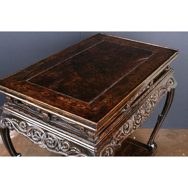 17th Century An Extremely Rare Late Ming Dynasty Elm and Burl Altar Table For Sale - Image 5 of 7