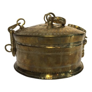 Rajasthani Decorative Brass Lidded Tea Caddy Box For Sale