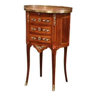 19th Century French Walnut Parquetry and Inlay Chest of Drawers With Marble Top For Sale
