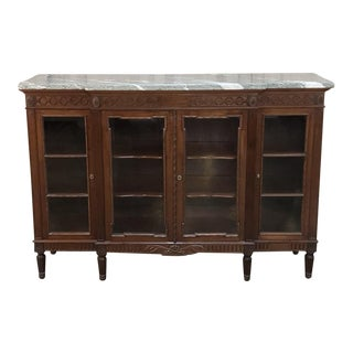 19th Century French Louis XVI Marble Top Display Buffet For Sale