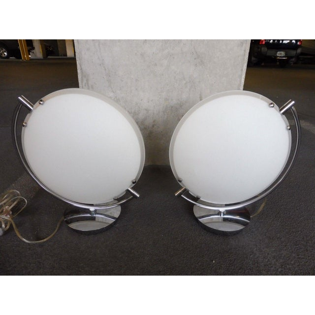 Space Age Post Modern Flying Saucer Clam Shell Table Lamps - a Pair For Sale In Miami - Image 6 of 6